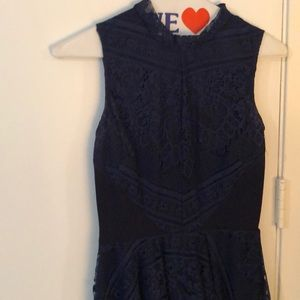 High neck navy special occasion dress